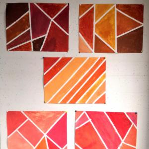 Orangetöne mischen - Gemeinschaftsarbeit